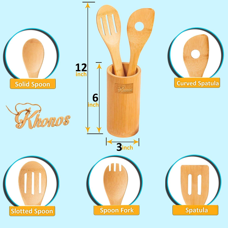 Amazon.com: Organic Bamboo Kitchen Utensils with Holder by Khonos ...
