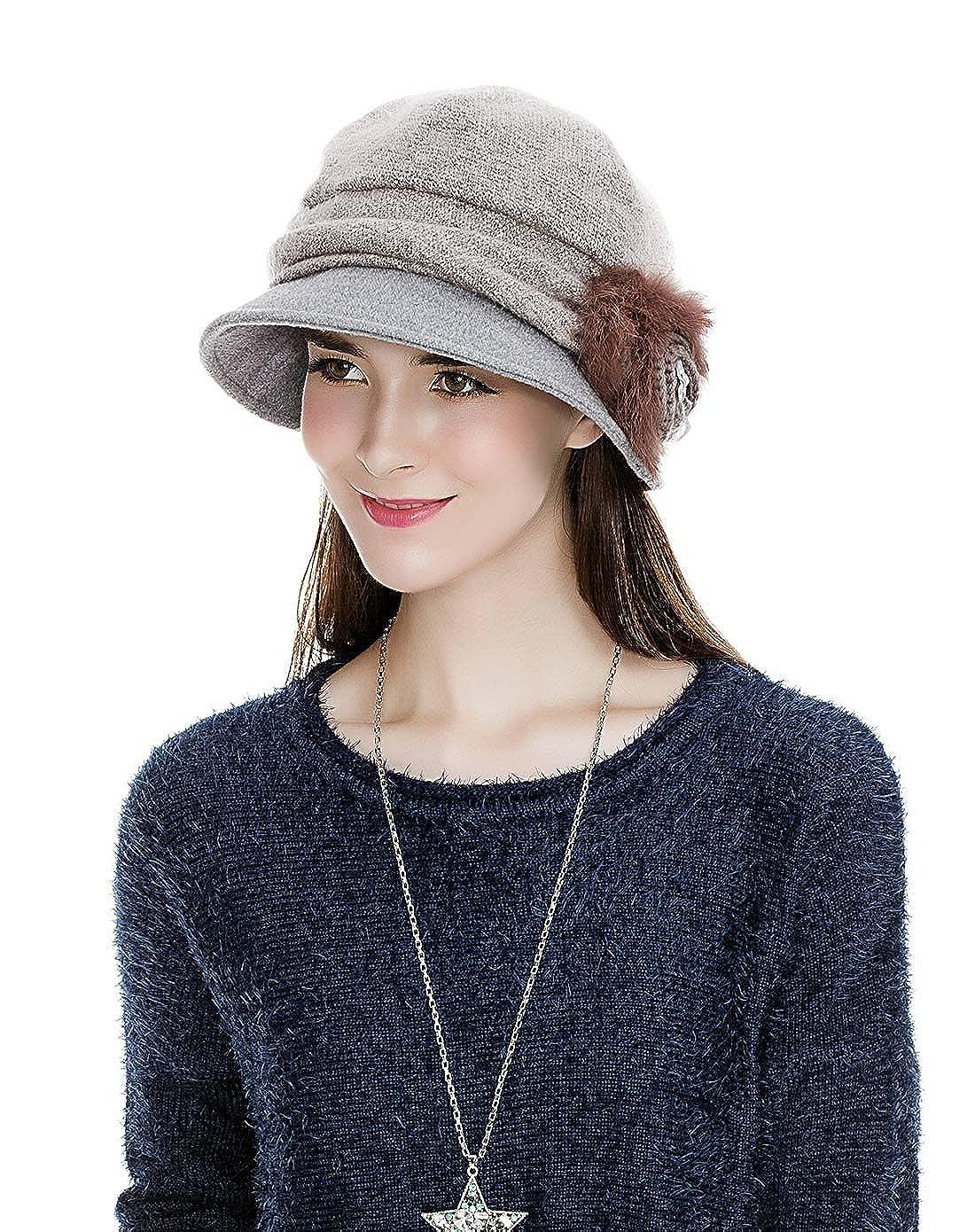 Siggi Cloche Round Hat for Women 1920s Winter Bucket Vintage Hats Flower  Accent f0dc438df205