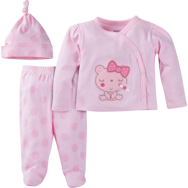 Gerber Baby Girl's 3-Piece Take Me Home Set Sleepwear, Pink, 3M 22557318A GRL 03M