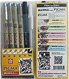 Sakura Pigma Micron pen, Archival pigment ink drawing pens - 6 pieces Manga Basic Set supplies for artist (005, 01, 05, 08, FB brush pen, Gelly roll pen white)