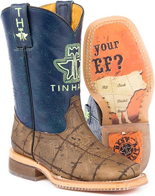Beef Sole Cowboy Boot Square Toe Brown