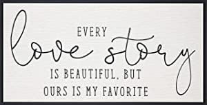 Homekor Every Love Story is Beautiful, But Ours is My Favorite Inspirational Quote - Motivational Framed Wall Art Canvas Print 24 x 12