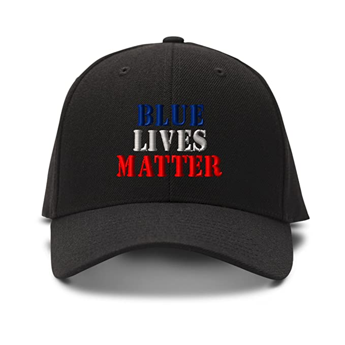 Image Unavailable. Image not available for. Color  Blue Lives Matter Police  Embroidery Adjustable Structured Baseball Hat Black cd34fc37f618
