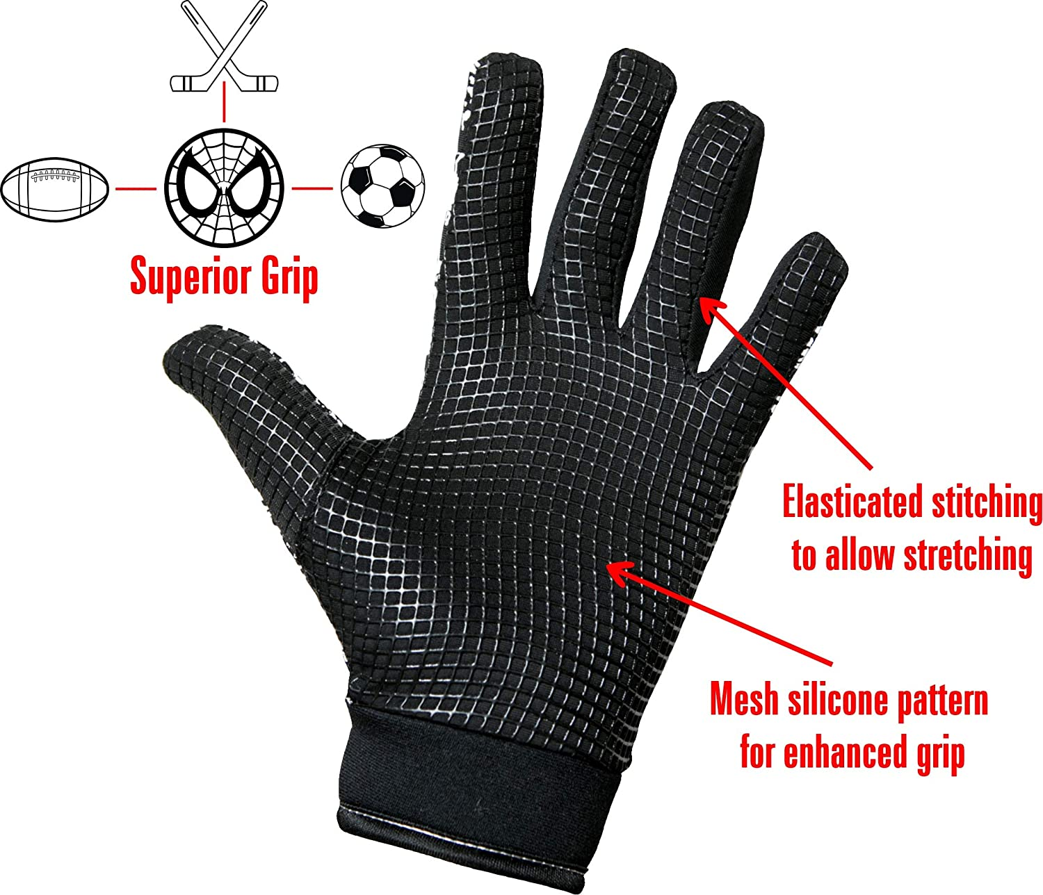 Mountain Biking Rugby Ideal for Football Cycling Tuoni Junior Thermal Multi sports glove with silicone grip Hockey Running /& Netball.