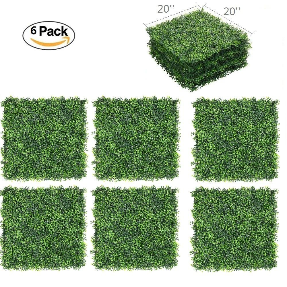 Yaheetech 6PCS 20'' x 20'' Artificial Boxwood Plants Wall Panel Hedge Greenery Garden Home Decorations Green