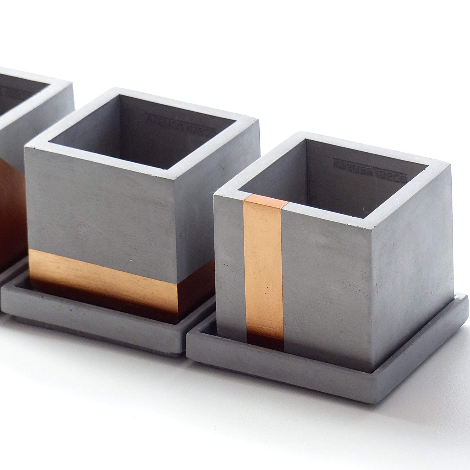 Modern Gray and Copper Cube Concrete Planter Pot with Square Saucer and Copper Painted Horizontal Strip Atelier Ideco