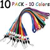 Neck Lanyard Office Nylon Woven Neck Lanyards 10 Colors Straps for Badges Holders with J-Hook Enhanced Model Hook Ether Ideal for ID Name Badges,Keys,Cell Phone USB Stick Whistles Grey Purple,Black.
