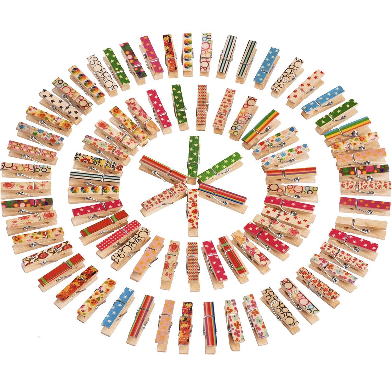 Mini Pinzas para Manualidad Clavijas de Madera, Colores Variados, 100 Piezas product image