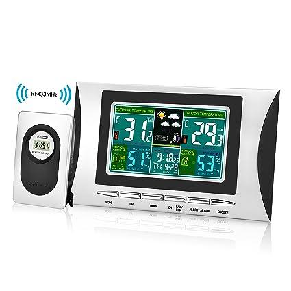 Elinker Termohigrómetro digital inalámbrico, interior y exterior termómetro hidrómetro Waterproof, pantalla LCD en colores
