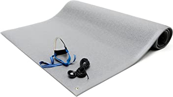 "Bertech ESD Anti Fatigue Floor Mat Kit with a Heel Grounder and Grounding Cord, 3' Wide x 5' Long x 0.375"" Thick, Gray (Made in USA)"