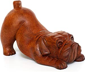G6 Collection Wooden Hand Carved Crouching English Bulldog Statue Figurine Sculpture Art Decorative Rustic Home Decor Accent Handmade Handcrafted Wood Decoration Gift Dog Artwork