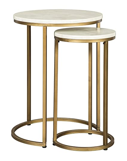 Delightful Ashley Furniture Signature Design   Britzwald Contemporary Nesting End  Tables   Set Of 2   Gold