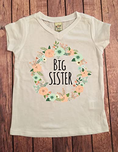 Amazon Com Big Sister Shirt Floral Wreath Big Sis Shirt