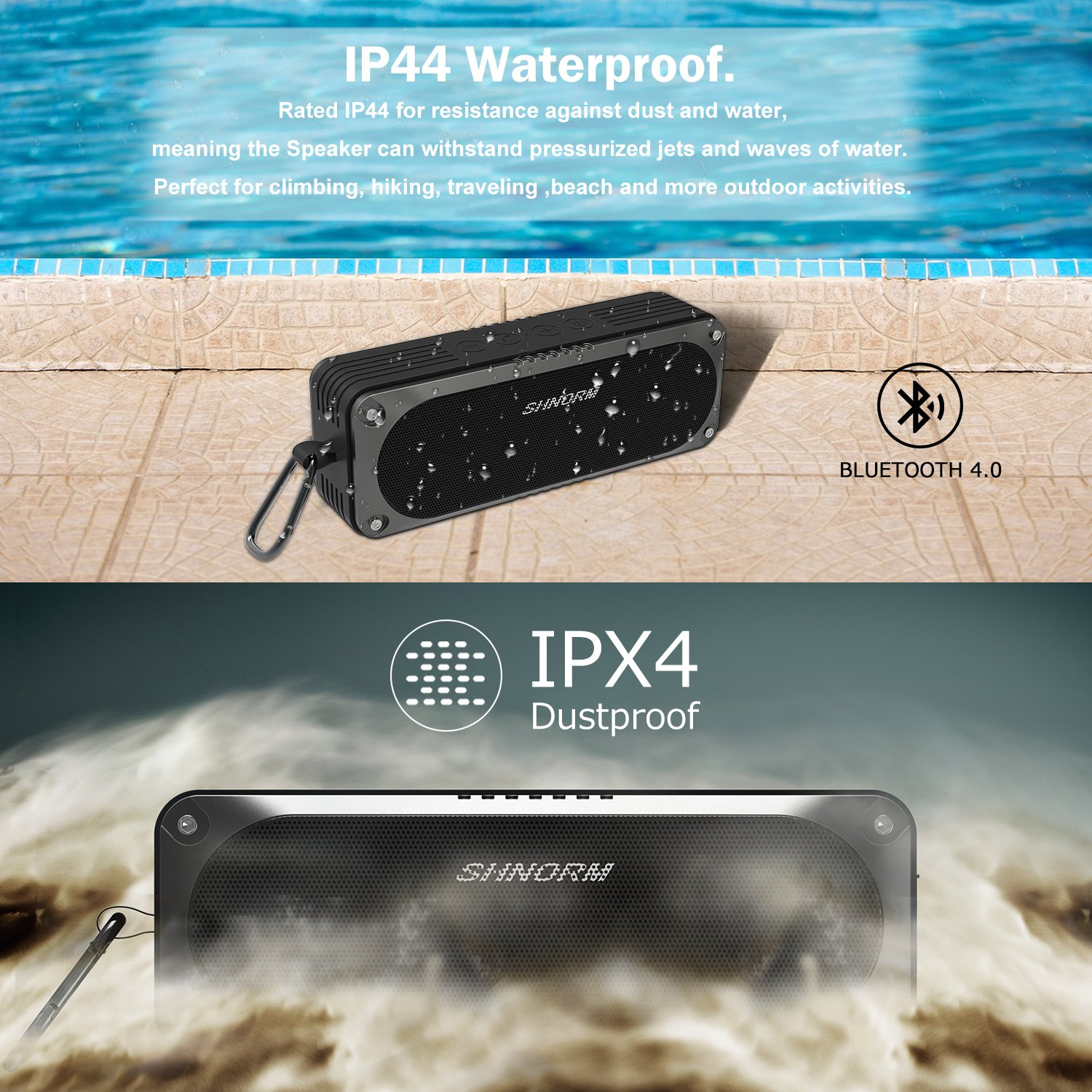 Waterproof 20W Loud Bluetooth Speaker, Dual Bass Stereo Sound Driver Speakers, 4400mah USB Rechargeable Battery, Built-in Microphone for Handsfree Calling, 3.5mm AUX Input Port Supported