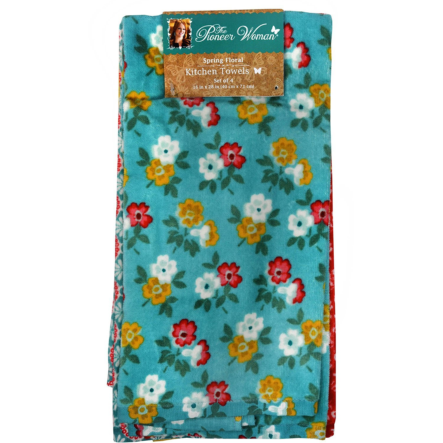 Amazon.com: The Pioneer Woman Spring Floral Kitchen Towel Set, 4pk ...