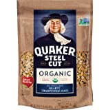 Quaker Steel Cut Organic Oatmeal, Breakfast Cereal, Non-GMO Project Verified, 20 Ounce Resealable Bags, 4 Bags