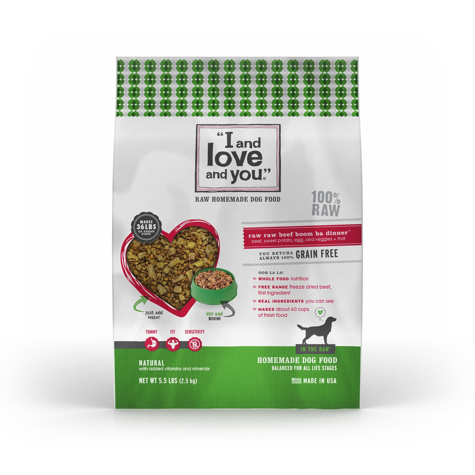 """I and love and you"""" In the Raw 'Raw Raw Beef Boom Ba' Homemade Freeze Dried, Grain Free Dehydrated Dog Food, 5.5 LB"""