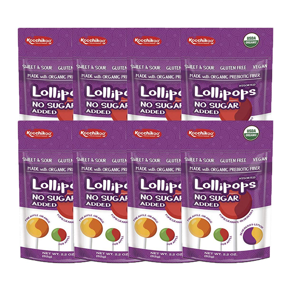Koochikoo Sugar Free Organic Lollipop Pouch, Delicious Assorted Fruity Flavors, 10 CT (Pack - 8)