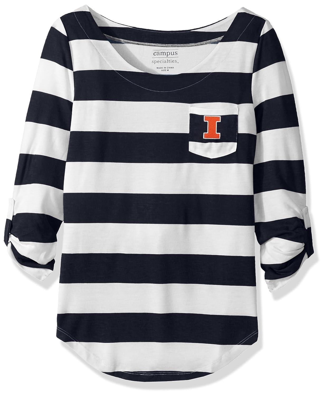 NCAA Illinois Illini Womens Campus Specialties Striped 3//4 Sleeve Tee Navy//White XX-Large