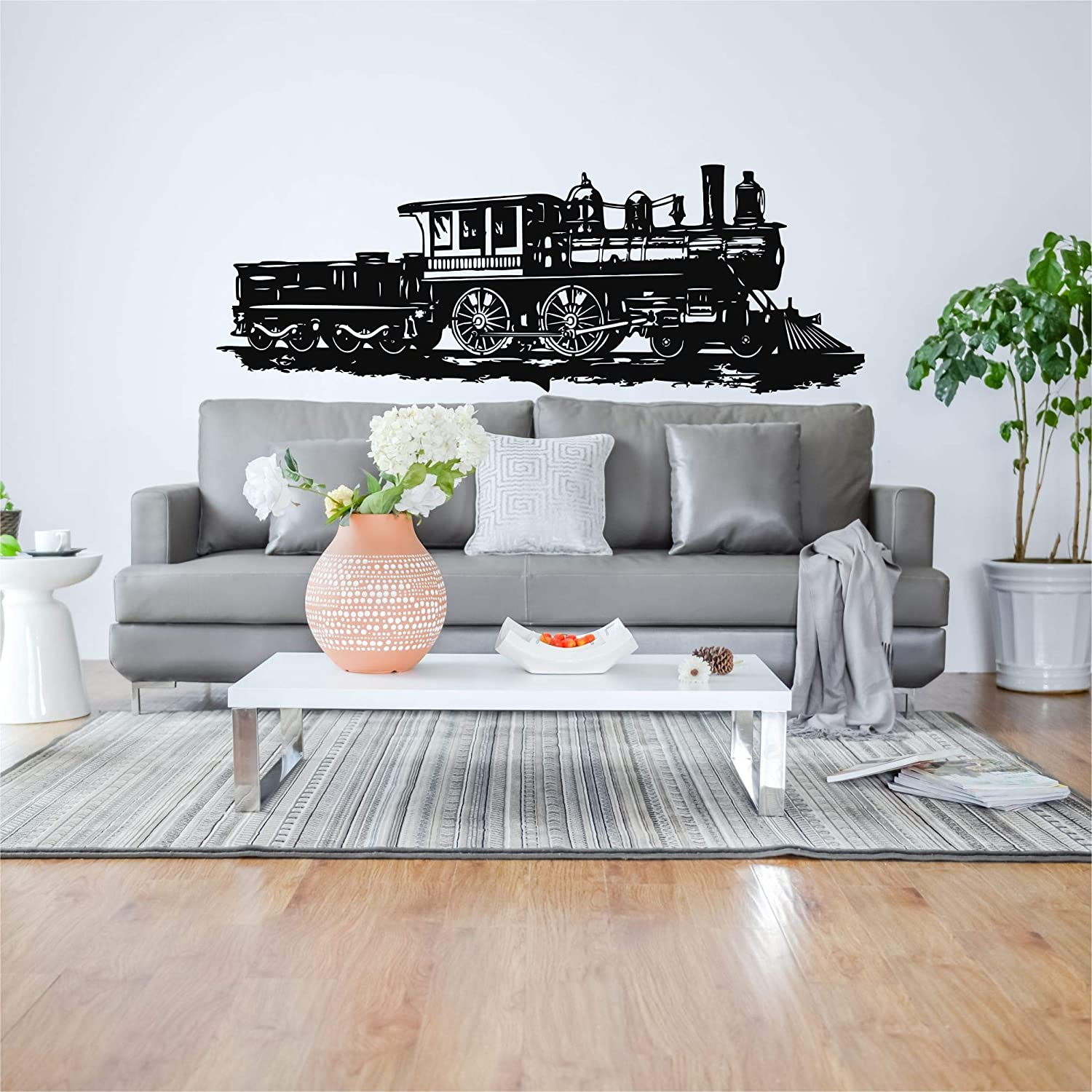 "Metal Wall Decor, Vintage Train Decor, Kids Room Decoration, Metal Train Sign, Metal Train Art (47""W x 17""H / 118x42cm)"