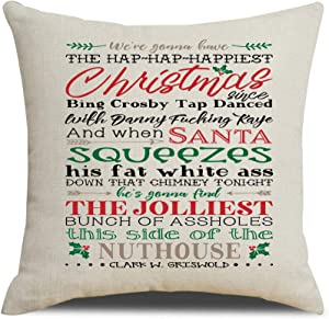 MFGNEH Christmas Decorations Throw Pillow Covers Winter Xmas Santa Quotes Cotton Linen Throw Pillow Case Cushion Cover 18x18 Inch,Christmas Decor
