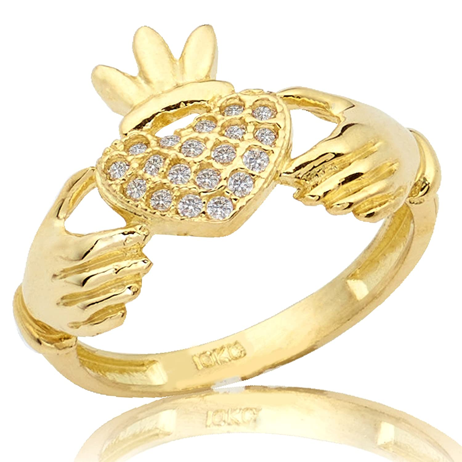 LoveBling 10K Yellow Gold Claddagh Heart Ring with 19 Cubic Zirconia (Sizes 5 - 9)