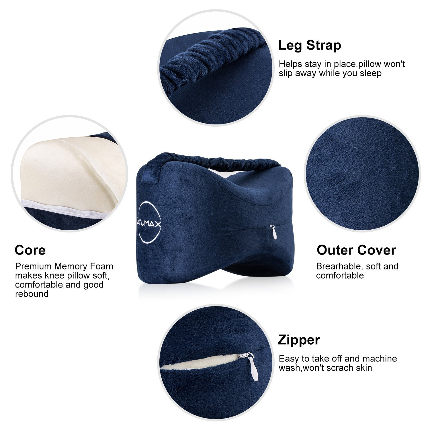 NATUMAX Knee Pillow for Side Sleepers - Sciatica Pain Relief - Back Pain, Leg Pain, Pregnancy, Hip and Joint Pain Memory Foam Leg Pillow with Washable Cover + Free Sleep Mask and Ear Plugs by NATUMAX (Image #4)