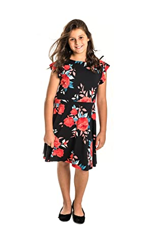 8384933e187b Amazon.com: Smile You Are Beautiful Girls Kids Full Size Brushed Floral  Print Ruffle Cap Sleeve Skater DressBlack/Red Size 10.5: Clothing