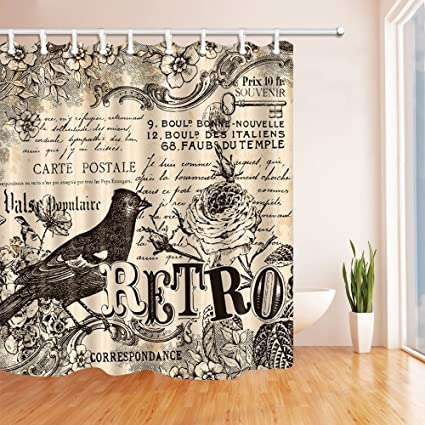 Decoration Carte Postale.Hisoho Carte Postale Decor Parrot In Vintage Shower Curtain Mildew Resistant Polyester Fabric Bathroom Bath Curtains Set With Hooks 71x71 Inches