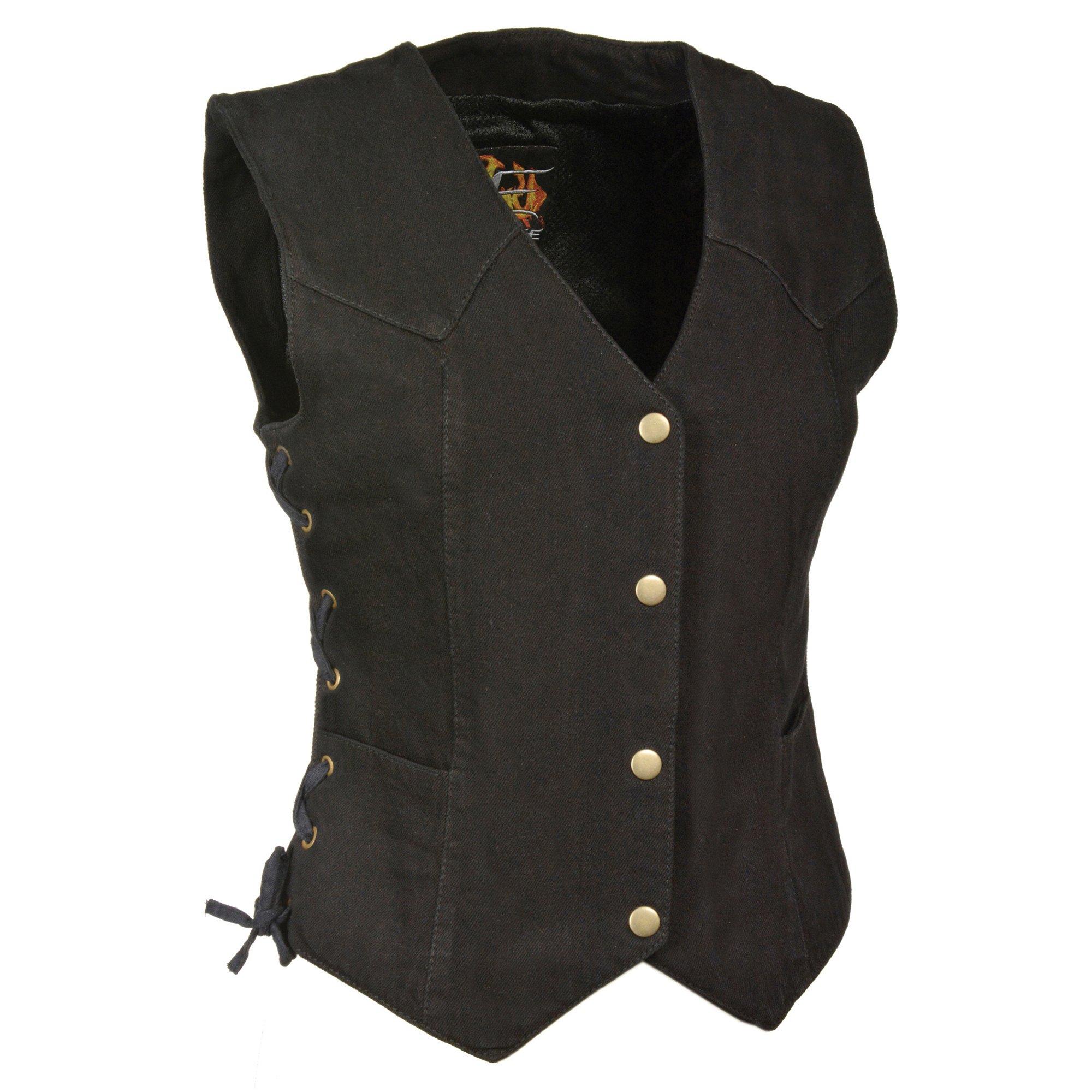 ZOOM LEATHER-Ladies Side Lace 3 Snap Front Denim Vest-BLACK-3XL