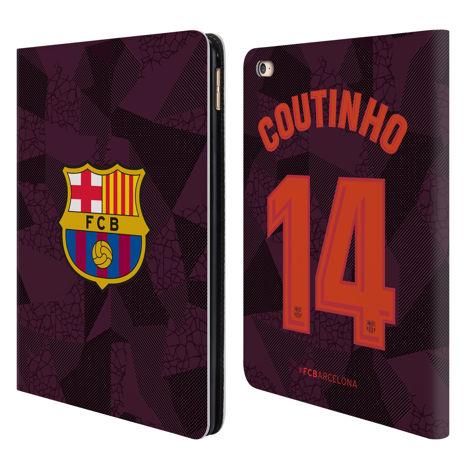 Official FC Barcelona Philippe Coutinho 2017/18 Players Third Kit Group 1 Leather Book Wallet Case Cover Compatible for iPad Air 2 (2014)