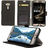 【Maxitem】ASUS ZenFone 3 Deluxe ZS570kl 専用ケース 高級 PUレザースタンド機能 編み紋 手帳型 多重保護 超耐久(ブラック)