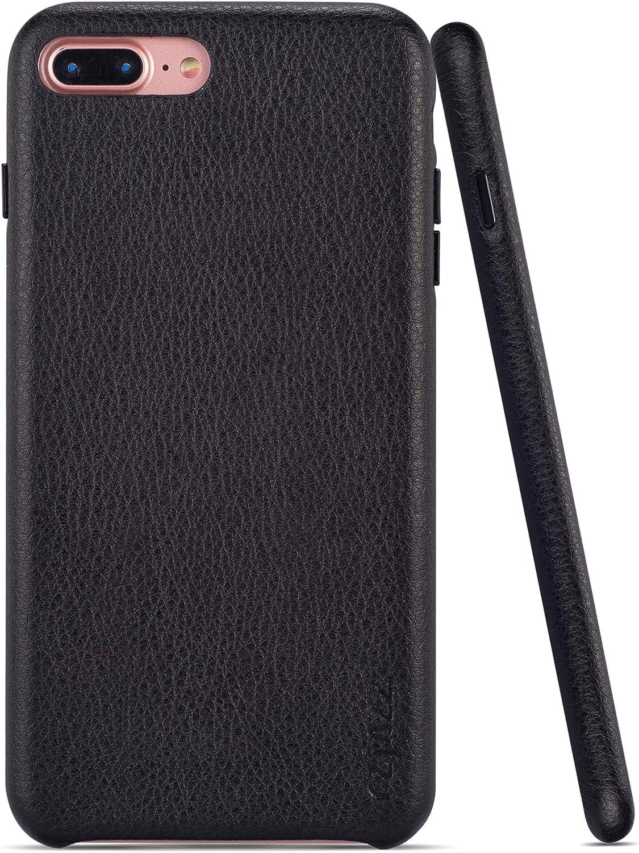 rejazz iPhone 7 Plus Case iPhone 8 Plus Case Anti-Scratch iPhone 7 Plus Cover iPhone 8 Plus Cover Genuine Leather Apple iPhone Cases for iPhone 7/8 Plus (5.5 Inch)(Black)
