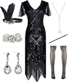 POKERGODZ Women Halter V-Neck Sequins Tassel 1920s Flapper Inspired Party Dance Dress with 20s Gatsby Accessories Set