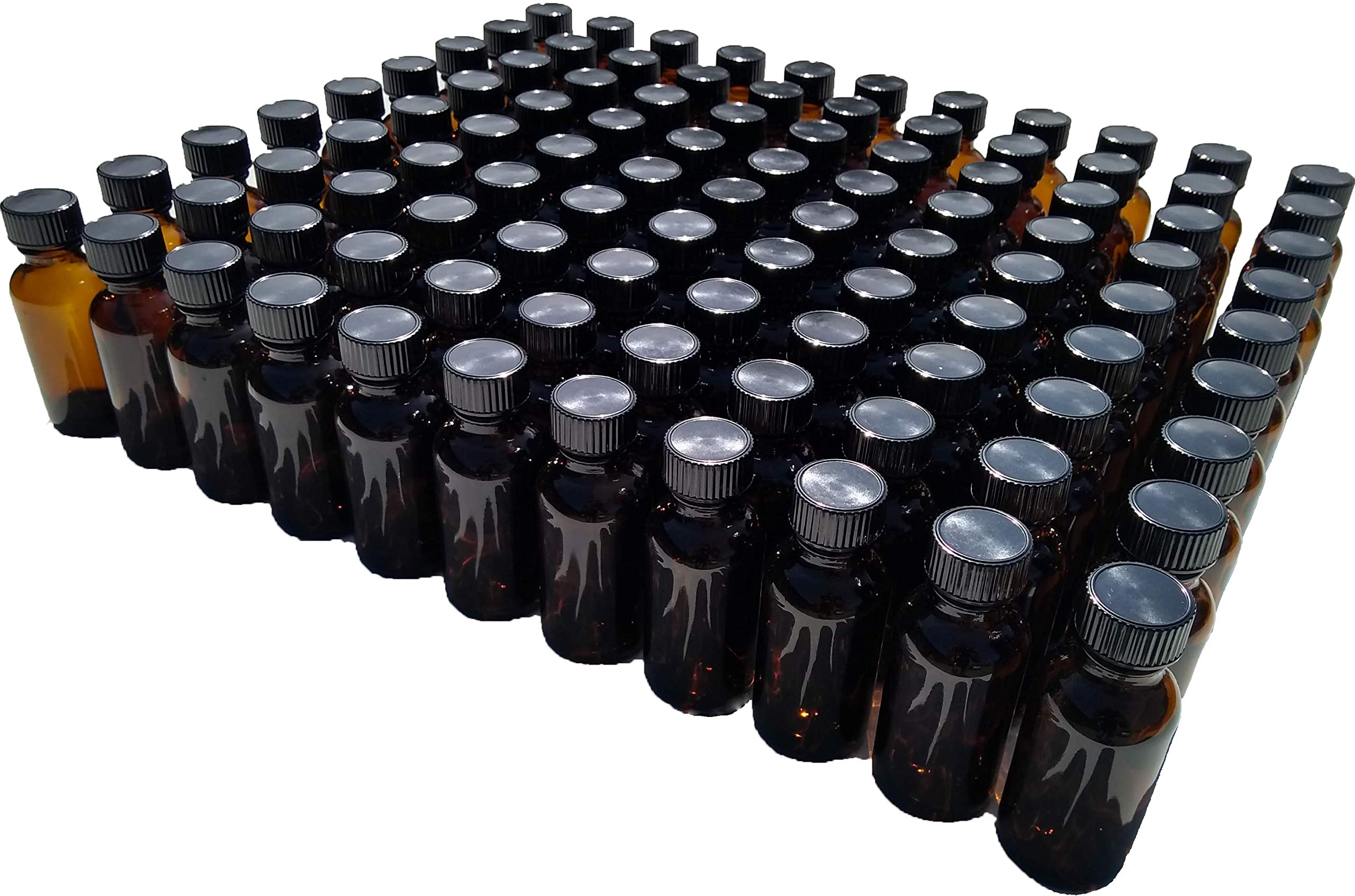 Dropper Stop 1oz Amber Glass Boston Round Bottles (30mL) with Polycone Caps - Pack of 99
