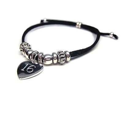 Aye Do Ltd India 16th Birthday Engraved Personalised Bracelet Black