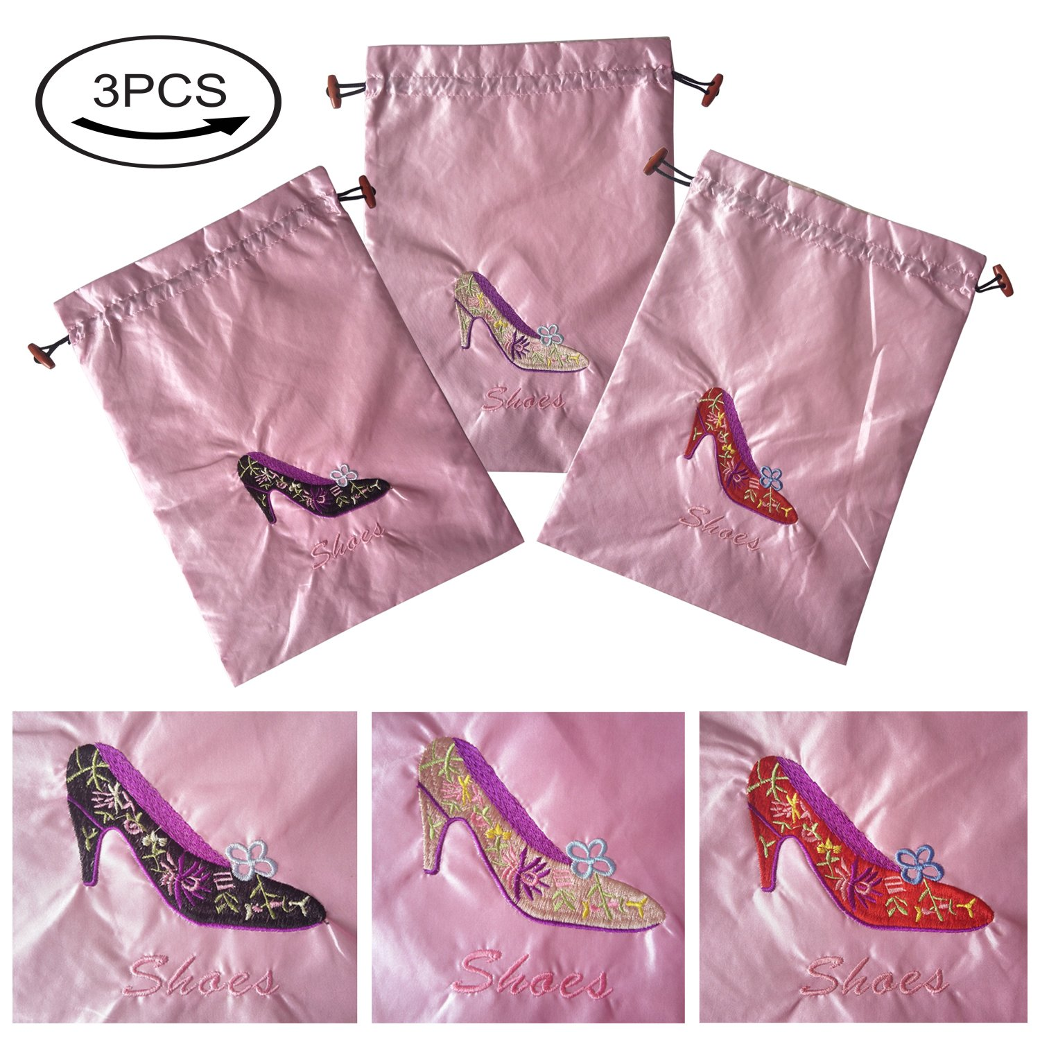 Gold Fortune 3 Packs 10.5'' x 14'' (L x W) Embroidered Silk Jacquard Travel Lingerie and Shoes Bags with Drawstring Closure (Pink)