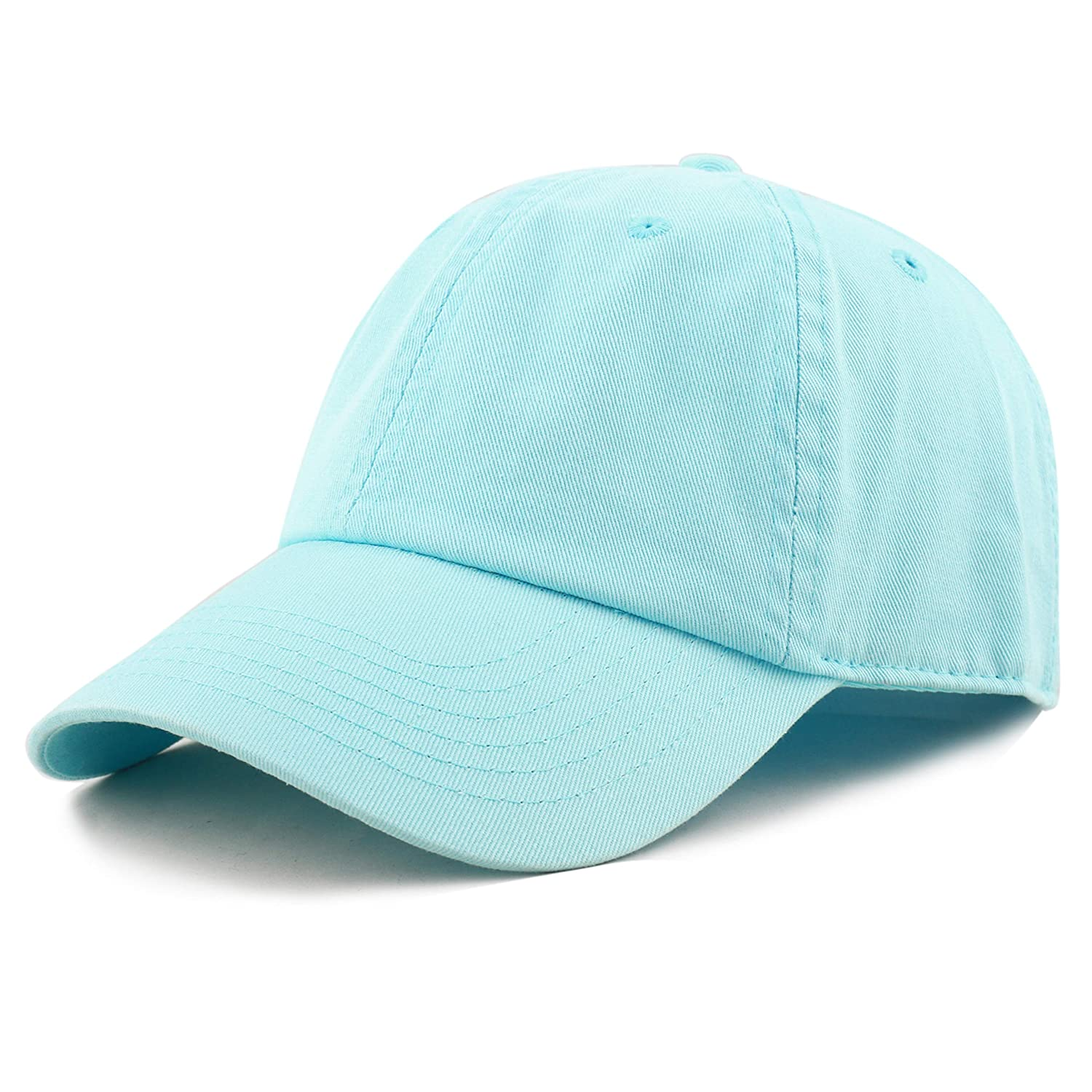c6b6751ba84 THE HAT DEPOT Unisex Blank Washed Low Profile Cotton and Denim Baseball Cap  Hat (Aqua) at Amazon Men s Clothing store