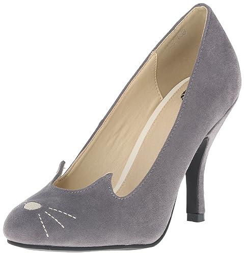 Tuk UK Grey Suede Kitty Cat High Heels Shoes