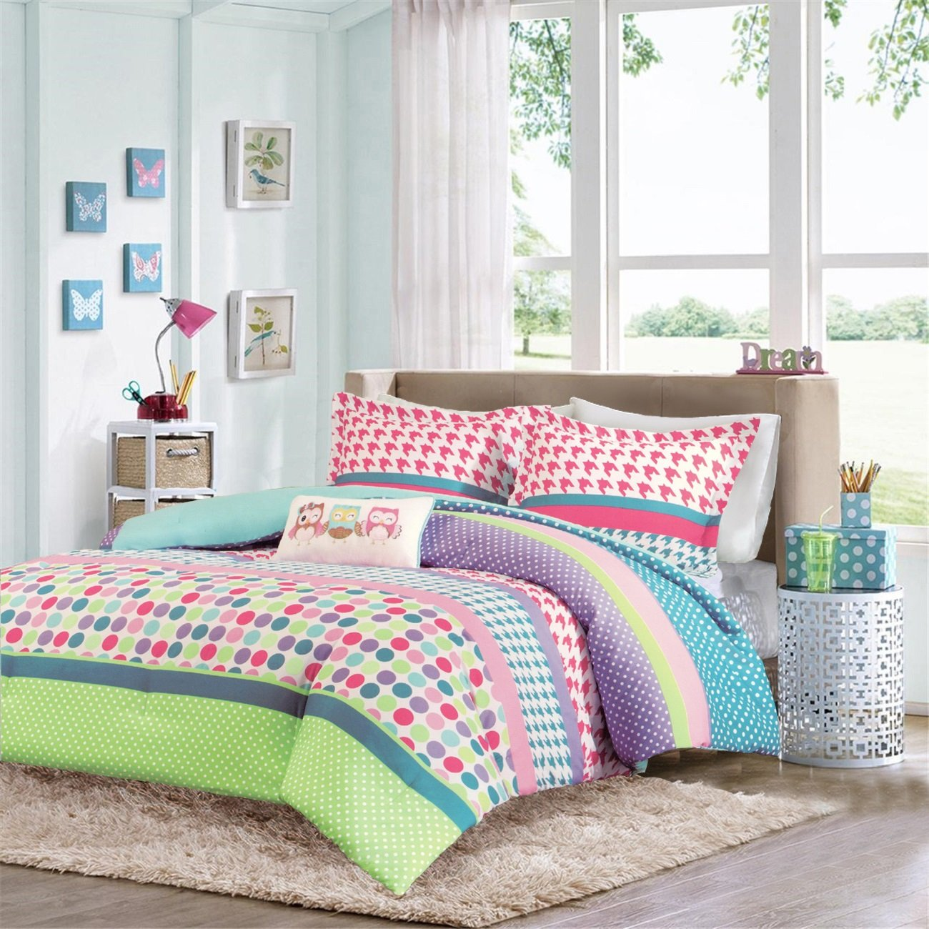 Girls Teen Kids Modern Comforter Bedding Set Pink Purple Aqua Blue Polka Dots Stripes Geometric Design with Owl Pillow