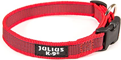 Julius-K9 Color /& Gray Collar with Handle 49-70 cm Safety Lock and Interchangeable Patch 50 mm Pink-Gray