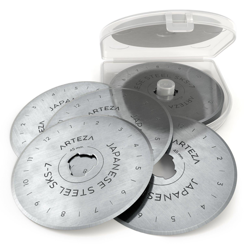 ARTEZA 45mm Quilting Rotary Cutter Replacement Blades, Fits Olfa & Fiskars (Pack of 10) ARTZ-8017