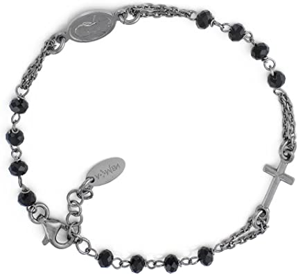 Bracciale rosario ag925 - cristalli grigi, colore: rodio - amen collection BROBG3