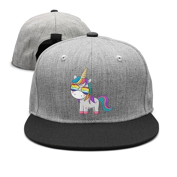 65130dabc9f22 YHNBHI Cute Unicorn Rainbow Sunglasses.PNG Unisex Hip Hop Plain Adjustable  Peak Cap Best Strapback Hat at Amazon Men's Clothing store: