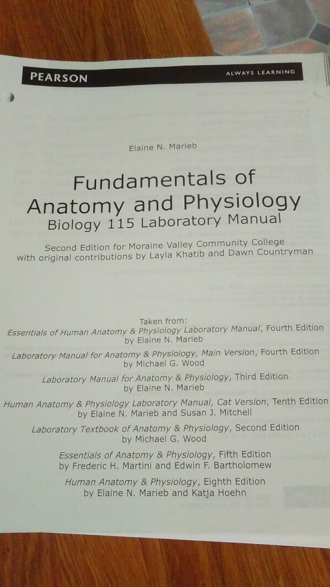 Fundamentals of Anatomy and Physiology, Biology 115, Laboratory ...