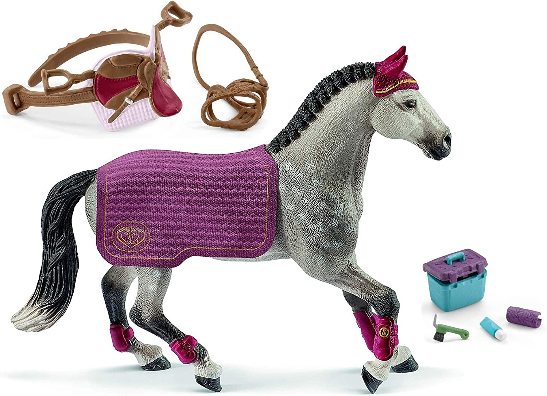 Schleich Horse Club 42456 42490 + 42366 - Juego de Accesorios para el Cuidado de Caballos (Incluye Manta, sillín y Set de Mantenimiento)