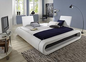 SAM® Polsterbett Bett Rondo in Weiß - schwarz 160 x 200 cm Kopfteil ...