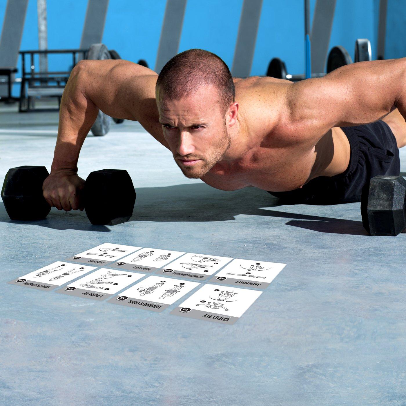 Tarjetas de ejercicios en casa con mancuernas, ejercicios y entrenamiento de fuerza, desarrollo muscular total, guía de entrenamiento Fitness rutinas ...