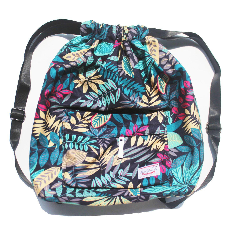 Dry Wet Separated Swimming Bag Floral Waterproof Drawstring Backpack Pool Beach Travel Gym Bag (Blue Leaf)