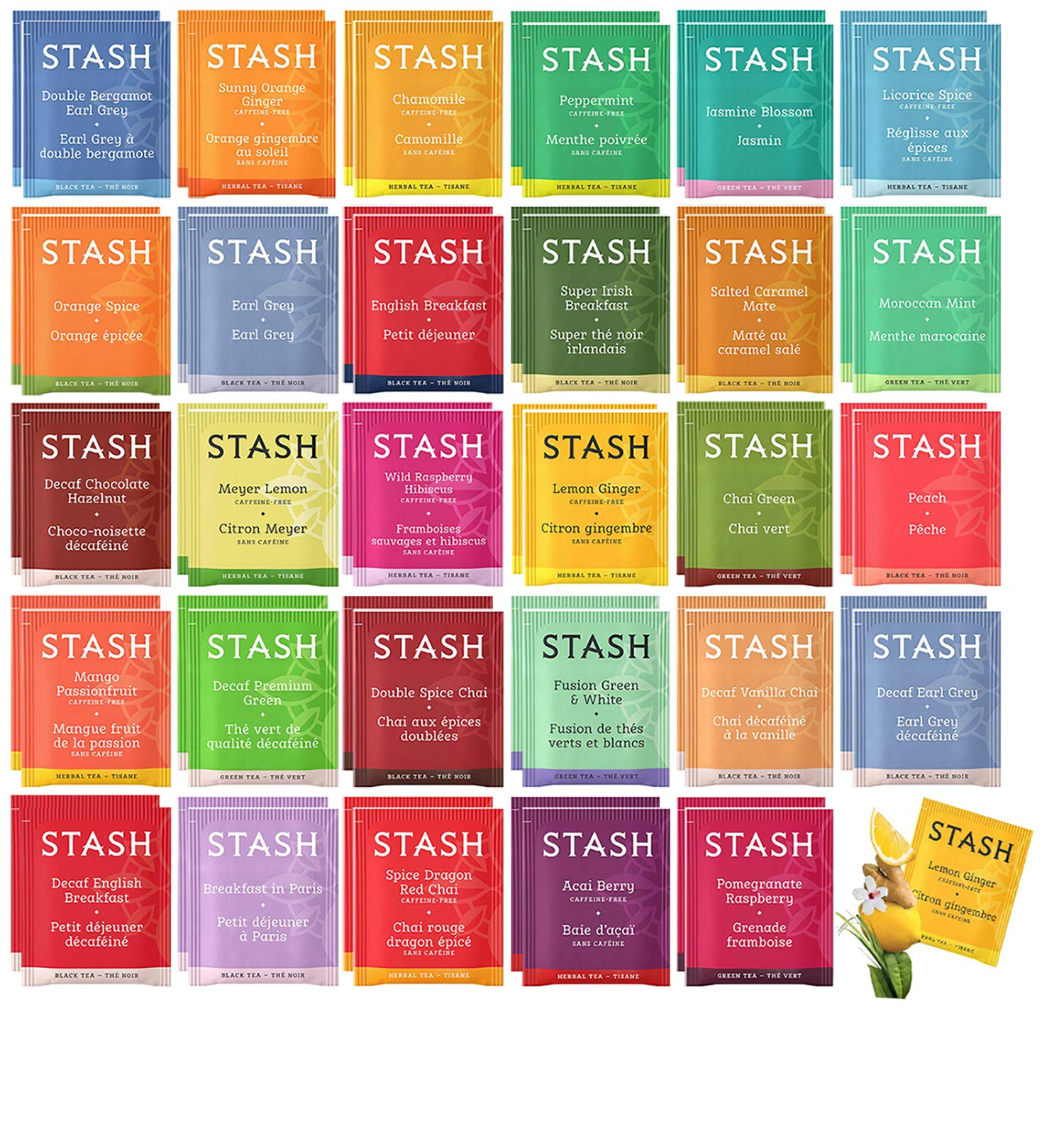 Stash Tea Bags Sampler Assortment Box - 52 COUNT - Perfect Variety Pack Gift Box - Gift for Family, Friends, Coworkers - English Breakfast, Green, Moroccan Mint, Peach, Chamomile and more by Blue Ribbon